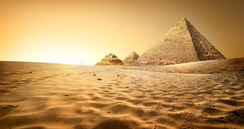 Pyramids in sand royalty free stock photo