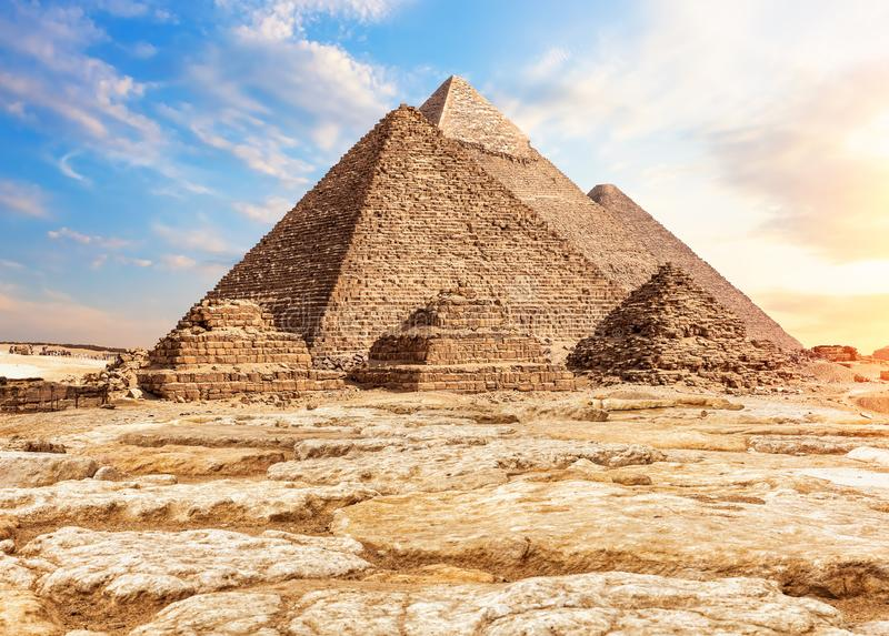 The Pyramids in the sand and stones, Giza, Egypt royalty free stock photos