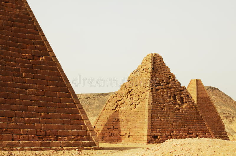 Pyramids in Sudan stock image