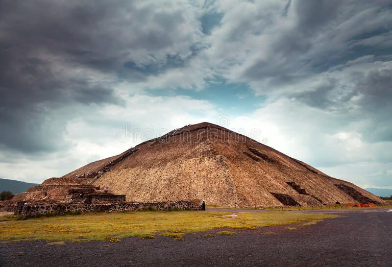 Pyramids of the Sun and Moon. Famous Mexican pyramids, Avenue of the Dead, Aztec historical heritage ruins, tour of Pyramids of the Sun and Moon in Teotihuacan royalty free stock image