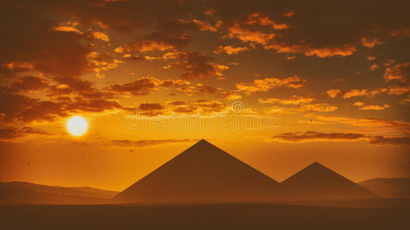 Pyramids At Sunset. With clouds and the sun in the sky with hazy horizon. An old historic vintage photography looking high quality and highly detailed render royalty free illustration