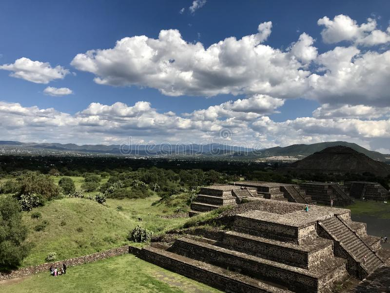 Pyramids of Teotihuacán view stock photography