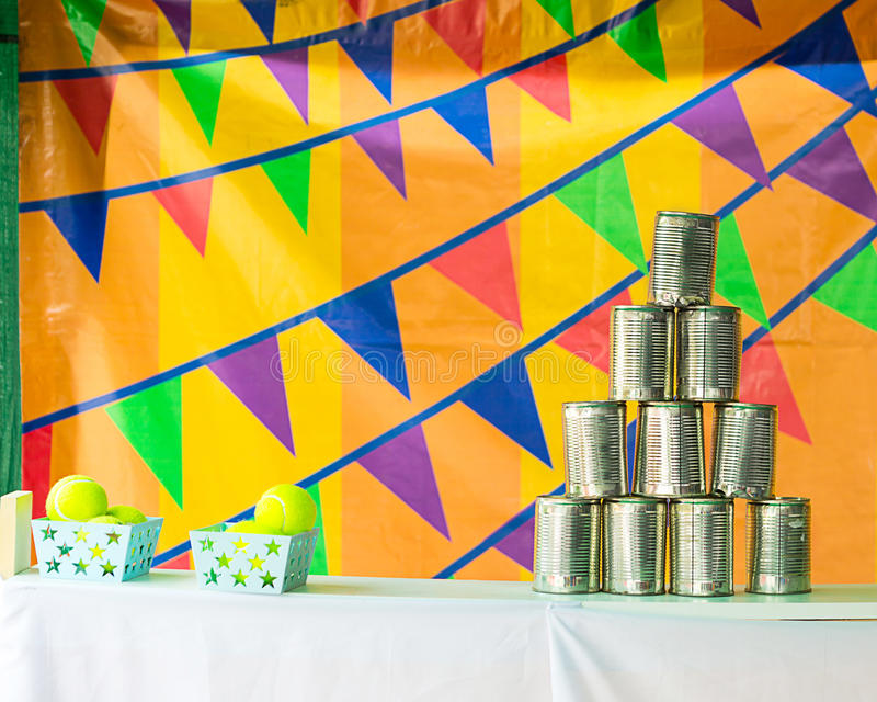 The pyramids of tin cans for throwing balls. stock photography