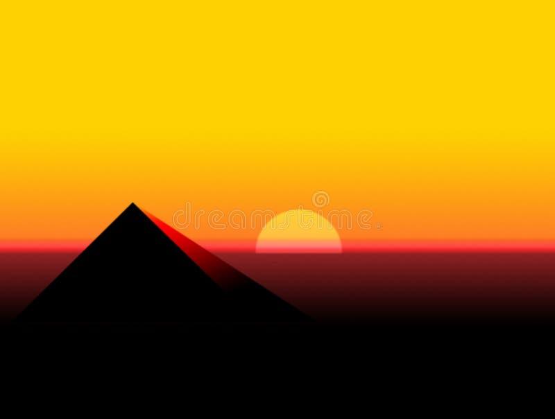 pyramidsolnedgång stock illustrationer
