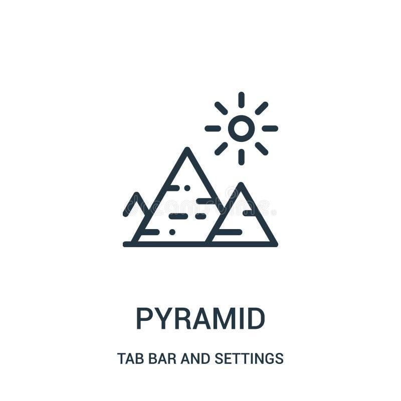 pyramidsymbolsvektor från flikstång och inställningssamling Tunn linje illustration f?r vektor f?r pyramid?versiktssymbol stock illustrationer