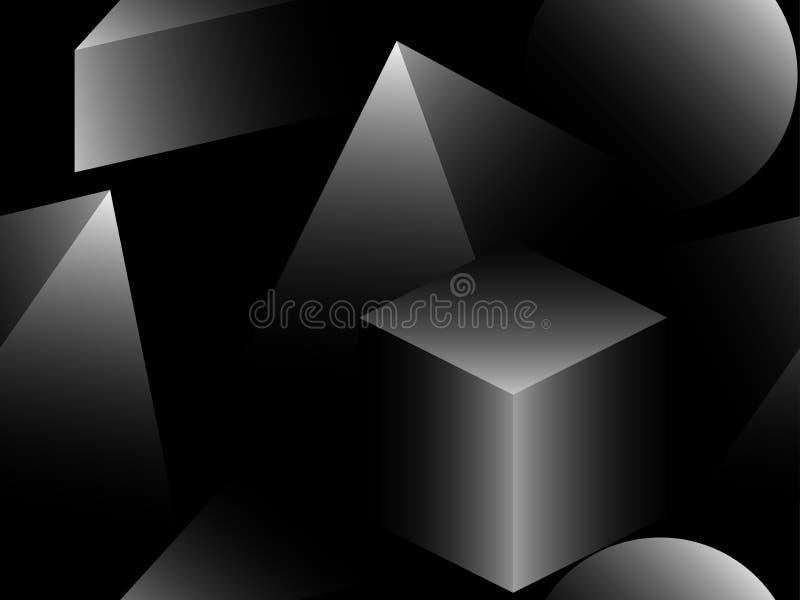 pyramis 3d och sömlös modell för kuber Gråa skuggor för Retro bakgrund Isometriska trianglar och fyrkanter med lutning vektor stock illustrationer