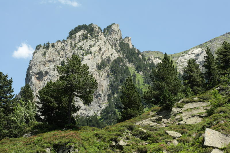 Pyrenean landscape in Ariege, Occitanie in south of France. Landscape in Pyrenees, Ariege, Occitanie in south of France. Roc de la Musique peak in Donezan stock images
