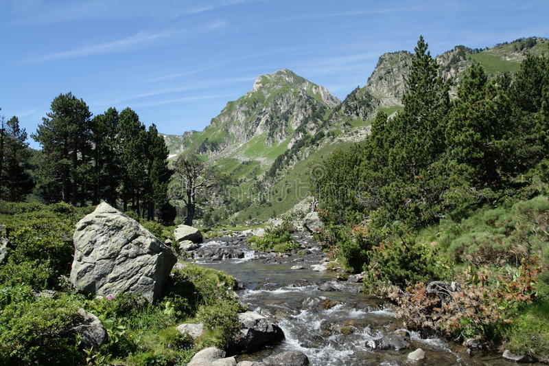 Pyrenean river in Ariege, France. Pyrenean river in Ariege, Occitanie in south of France royalty free stock photo