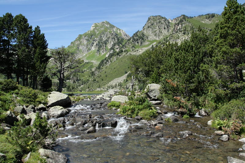 Pyrenean river in Ariege, France. Pyrenean river in Ariege, Occitanie in south of France stock image