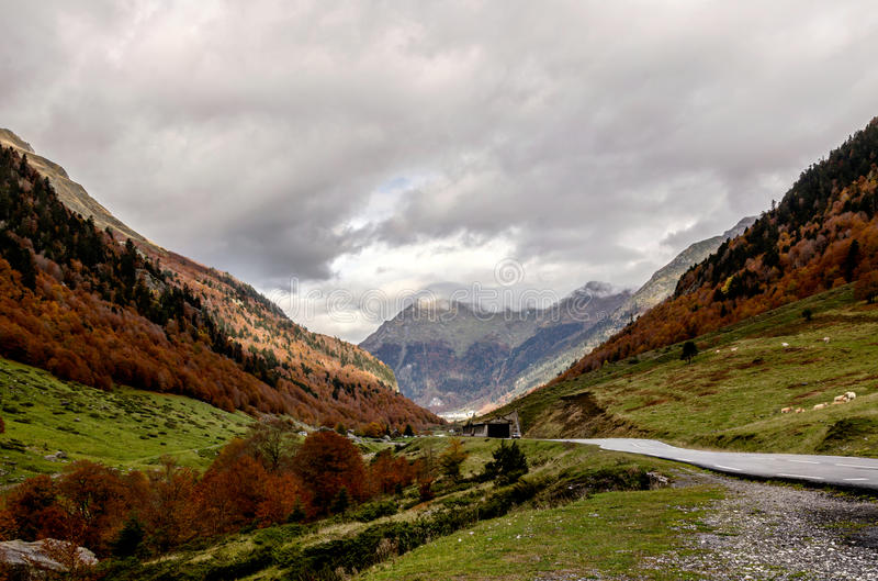Pyrenees Atlantiques. Urdos is situated in the Pyrenees-Atlantiques in the south-west of France at 50 km from Pau the department capital royalty free stock images