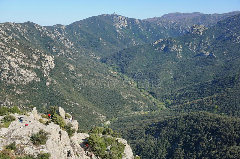 Pyrenees Orientales landscape valley Lavail France. Pyrenees Orientales aerial landscape, the valley of Lavail and the mountains of the massif des Alberes stock photo