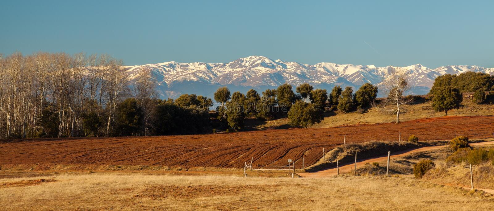 Pyrenees snow-covered mountains southern view royalty free stock image