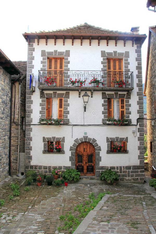 Pyrenees stone houses in Anso valley Huesca stock photos