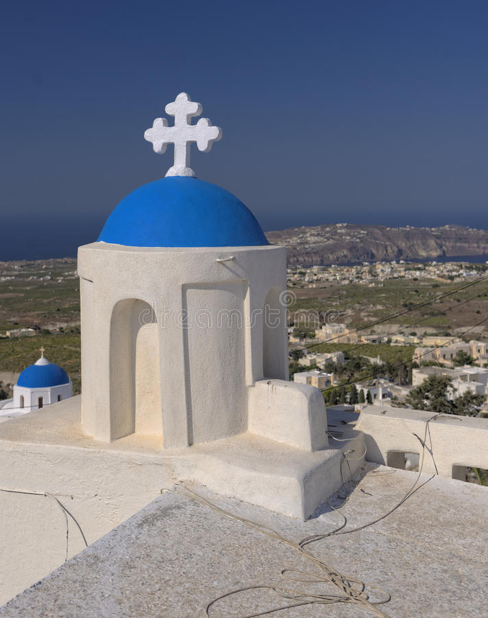 Pyrgos村庄,桑托林岛  免版税图库摄影