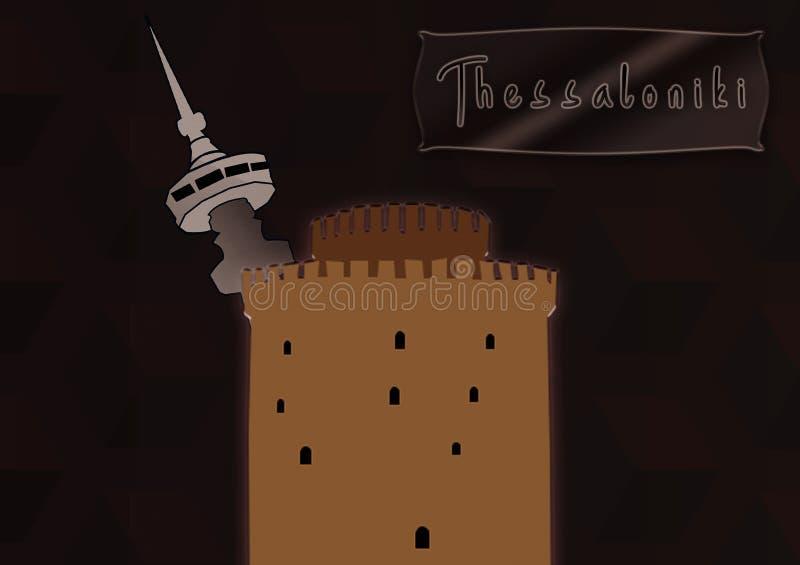 pyrgos leukos, башня ote, thessaloniki, иллюстрация стоковые фото