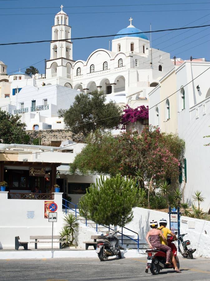 Pyrgos in Santorini. lizenzfreies stockbild