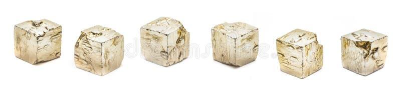 Pyriet cubeson witte achtergrond royalty-vrije stock afbeeldingen