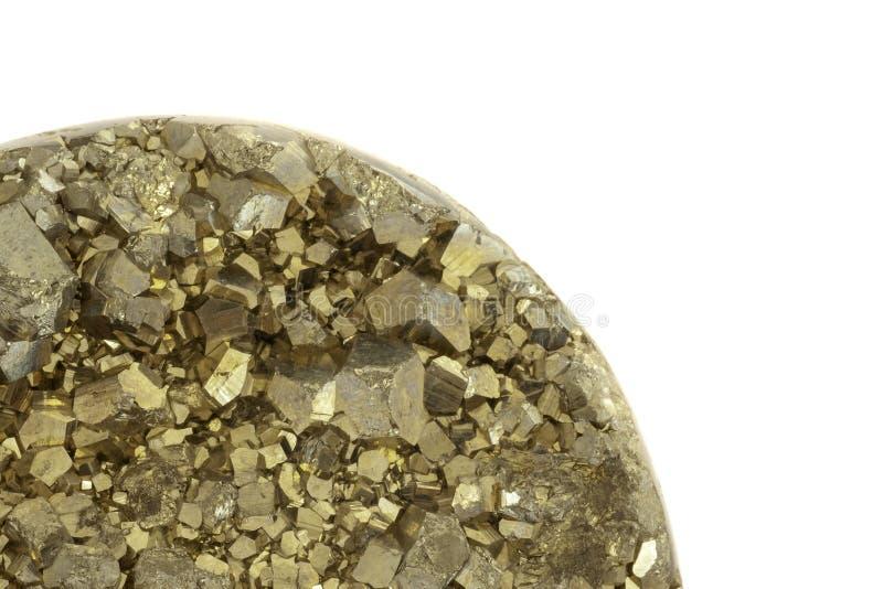 Pyrit berechnet des Nahaufnahmefotos mit weißem Kopienraum stockbilder