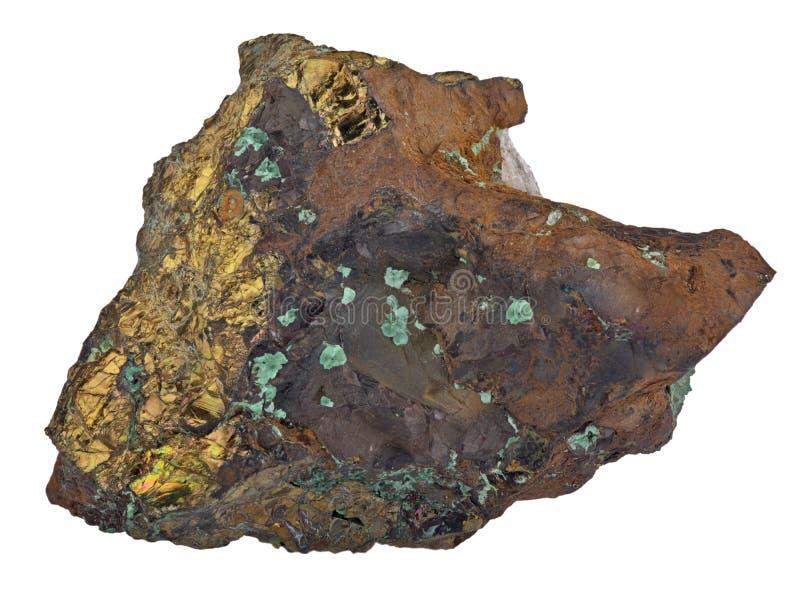 Pyrit im Malachitmineral lokalisiert auf Weiß lizenzfreies stockfoto