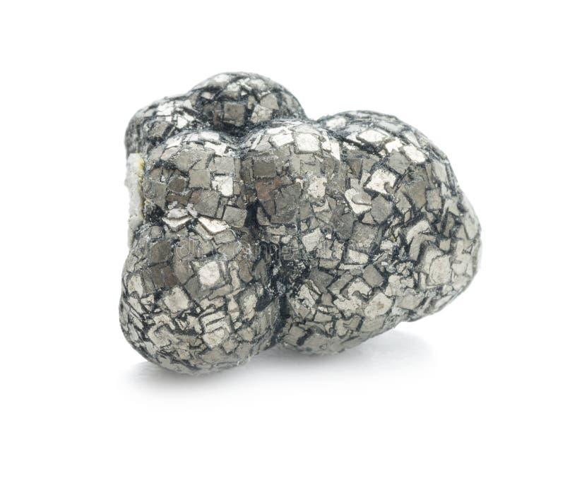 Pyrit-Mineral lokalisiert auf Weiß stockfotografie