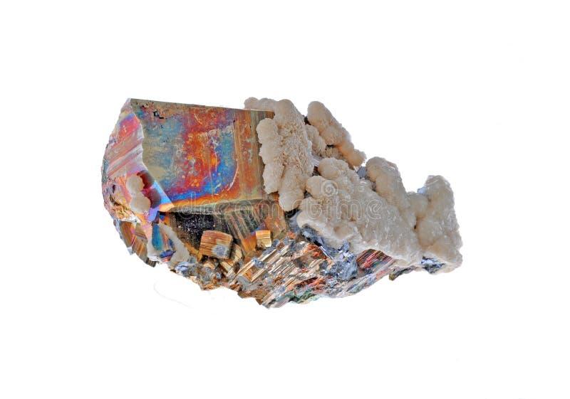 Pyrite, calcit et chalcopyrite images stock