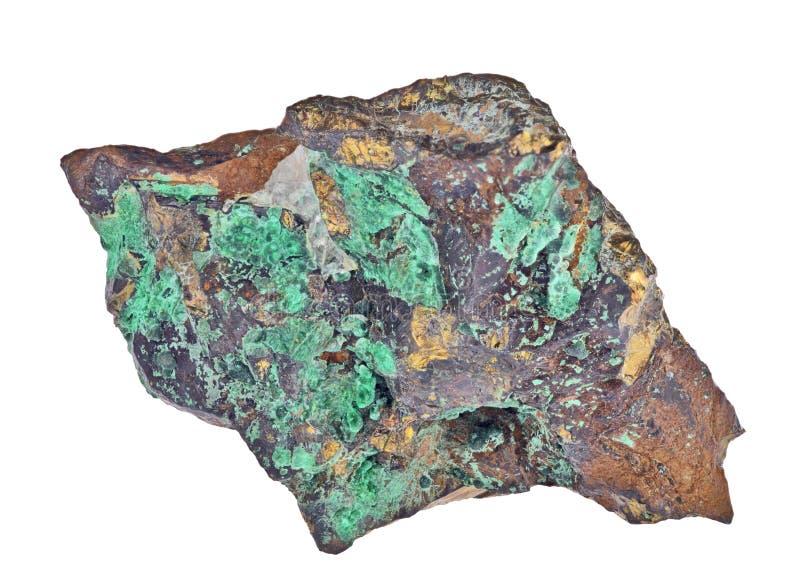 Pyrite en minerai de malachite sur le blanc photos stock