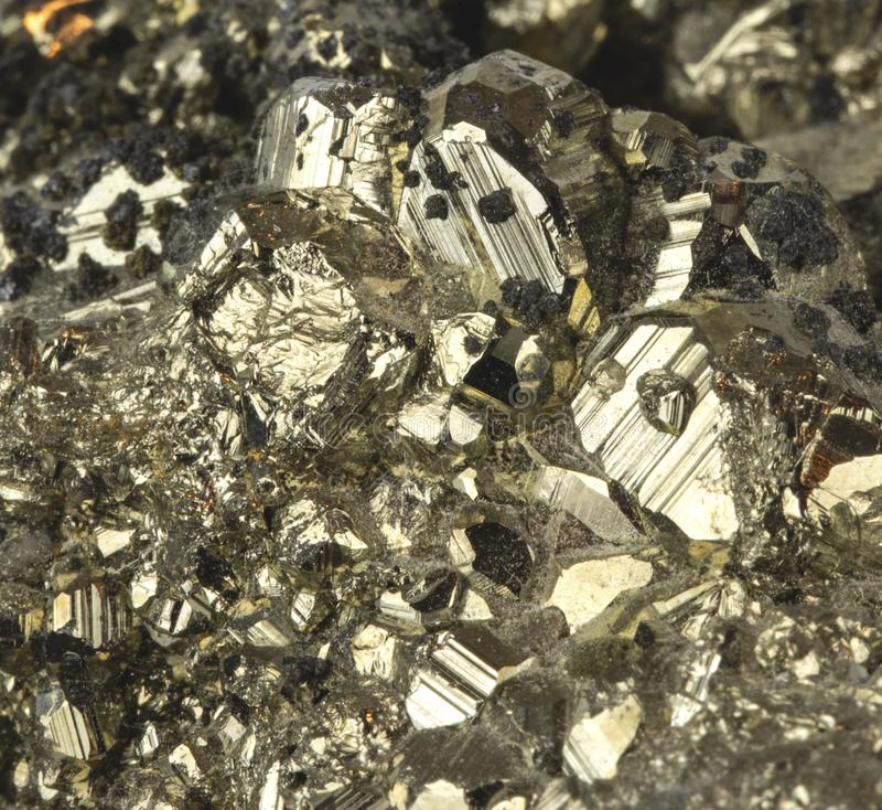 Pyrite Mineral Close Up Macro Detail Fools Gold royalty free stock images