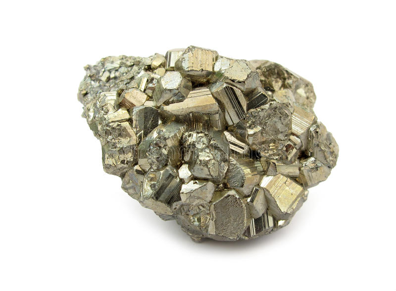 Pyrite stone mineral rock. The mineral pyrite, or iron pyrite, is an iron sulfide with the formula FeS2. This mineral's metallic luster and pale-to-normal, brass royalty free stock photography