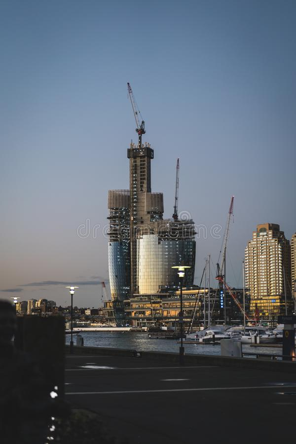 Pyrmont, New South Wales - JUNE 28th, 2019: Progress image of the new Star Casino being built at Barangaroo, Sydney. stock photo