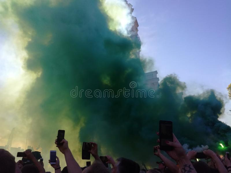 Pyro green fans basketball royalty free stock photography