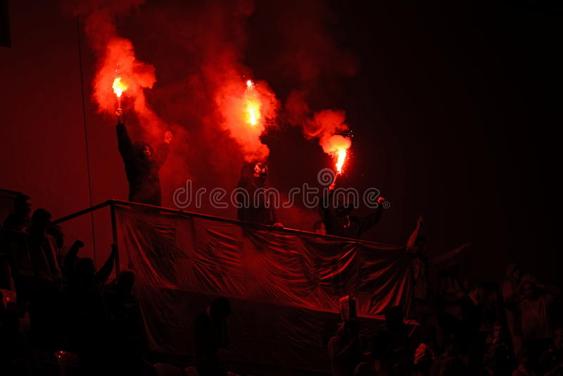 Pyro of SK Slavia Prague stock photos