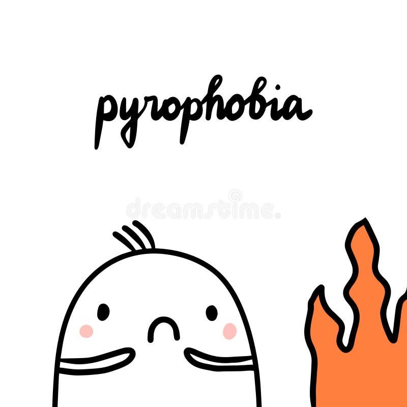 Pyrophobia ręka rysująca ilustracja z ślicznym marshmallow i ogieniem royalty ilustracja