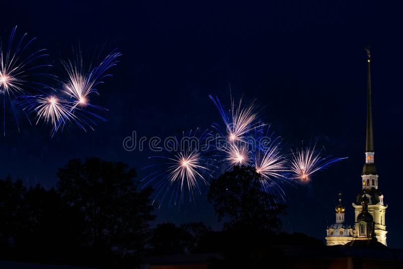 Pyrotechnic show in honor of the holiday in St. Petersburg, Russia. Scarlet Sails. Peter-Pavel`s Fortress. The Great Pyrotechnic Show. A stunning fire festival royalty free stock photo