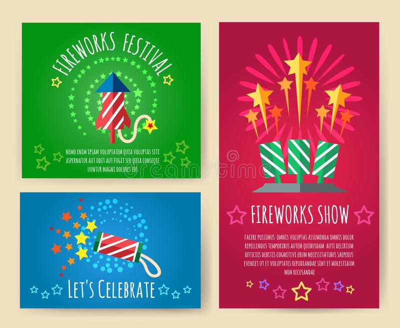 Pyrotechnics show posters vector illustration