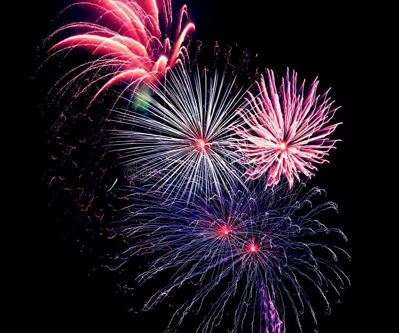 Pyrotechnie de célébration de laps de temps de feux d'artifice de la Floride de plage de Panamá City images stock