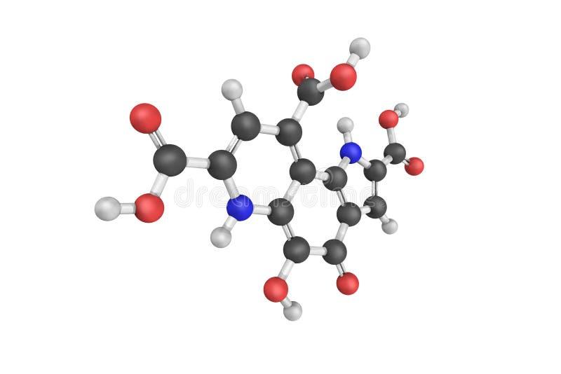 Pyrroloquinolinekinone (PQQ), die tot pyrroloquinoline wordt verminderd quin royalty-vrije stock afbeeldingen
