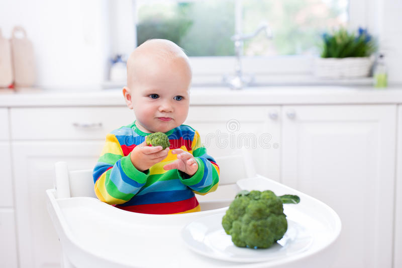 Pys som äter broccoli i vitt kök royaltyfri foto