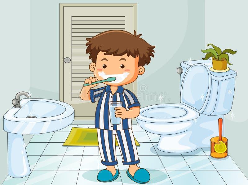 Pys som borstar tänder i toalett royaltyfri illustrationer