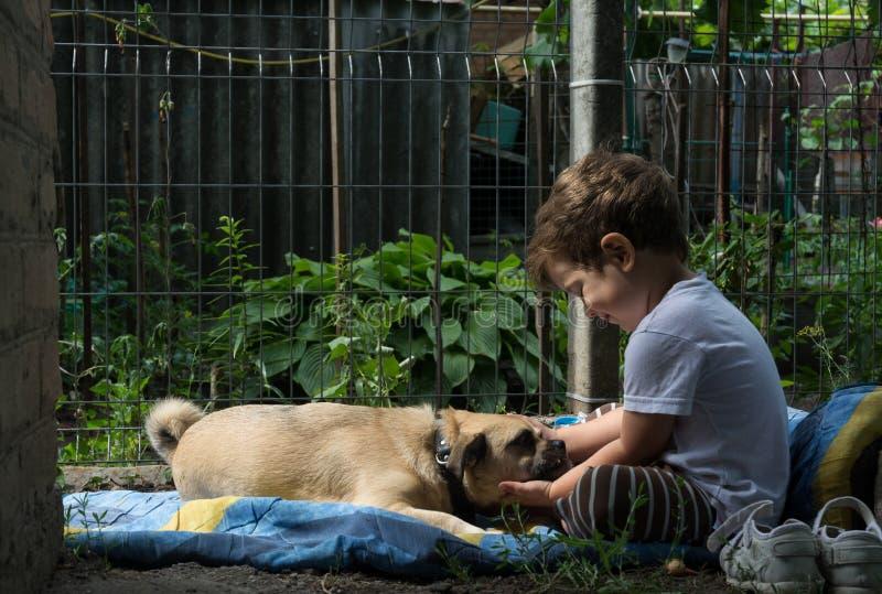 Pys som omfamnar hans hund på trädgården Barnet och den lilla hunden ligger tillsammans på gräset arkivfoton