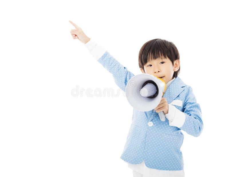 Pys som ropar i megafon fotografering för bildbyråer