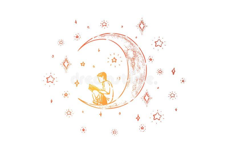 Pys som sitter på halvmånformigt, förskole- bok för barnläsningfantasi på månen, natthimmel med skinande stjärnor vektor illustrationer