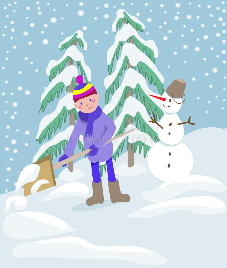 Pys som skyfflar snö på hem- drevväg stock illustrationer