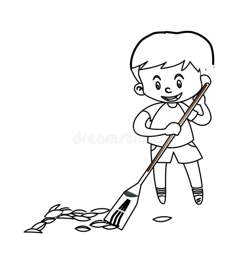 Pys som sopar golvfärgläggningsidan stock illustrationer