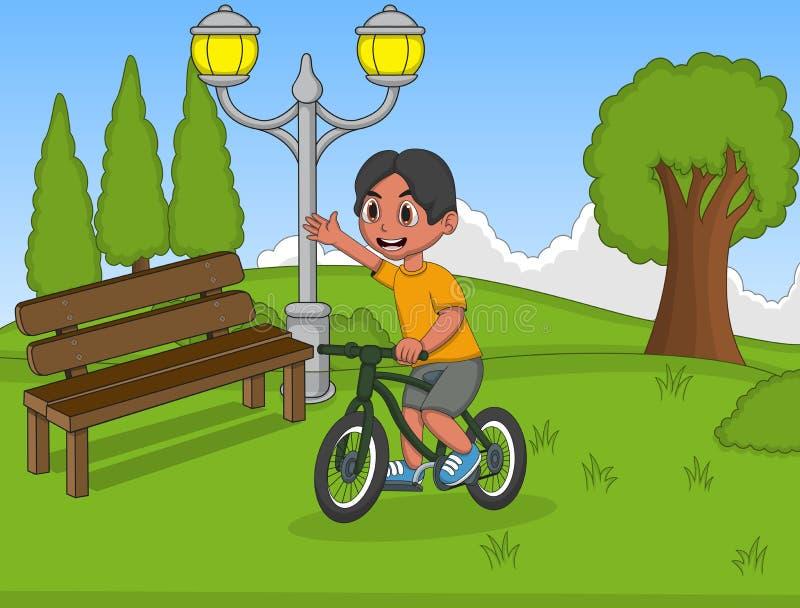 Pys som spelar cykeln på parkeratecknade filmen royaltyfri illustrationer