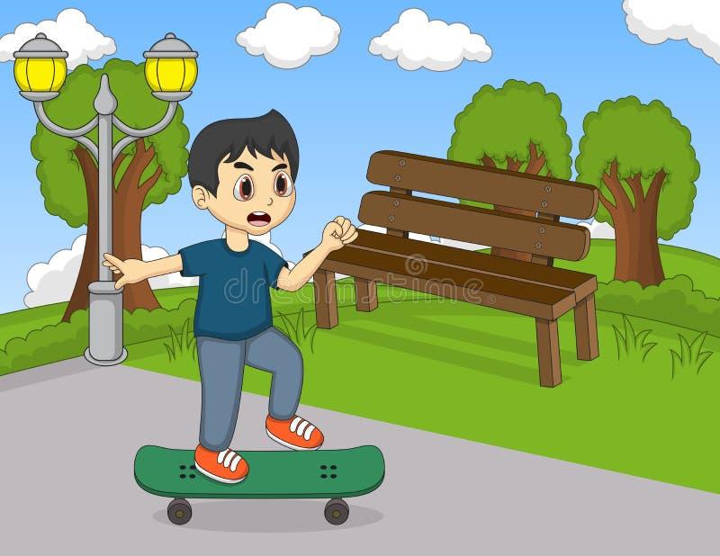 Pys som spelar skateboarden i gatatecknade filmen royaltyfri illustrationer