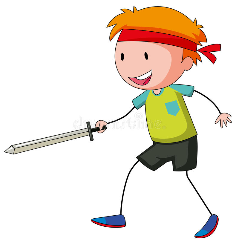 Pys som spelar swordfight vektor illustrationer