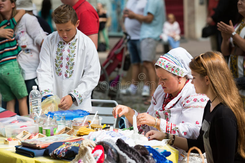 Pysanka sale at the Day of Ukrainian culture in Barcelona. BARCELONA, SPAIN - SEPTEMBER 06, 2015: Pysanky (Easter eggs) and other souvenirs for sale on display royalty free stock photo