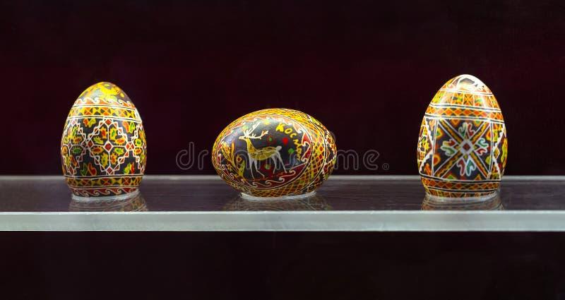 Pysanka. Ukrainian Easter eggs, exhibit of museum Pysanky, Ivano-Frankivsk region royalty free stock photos