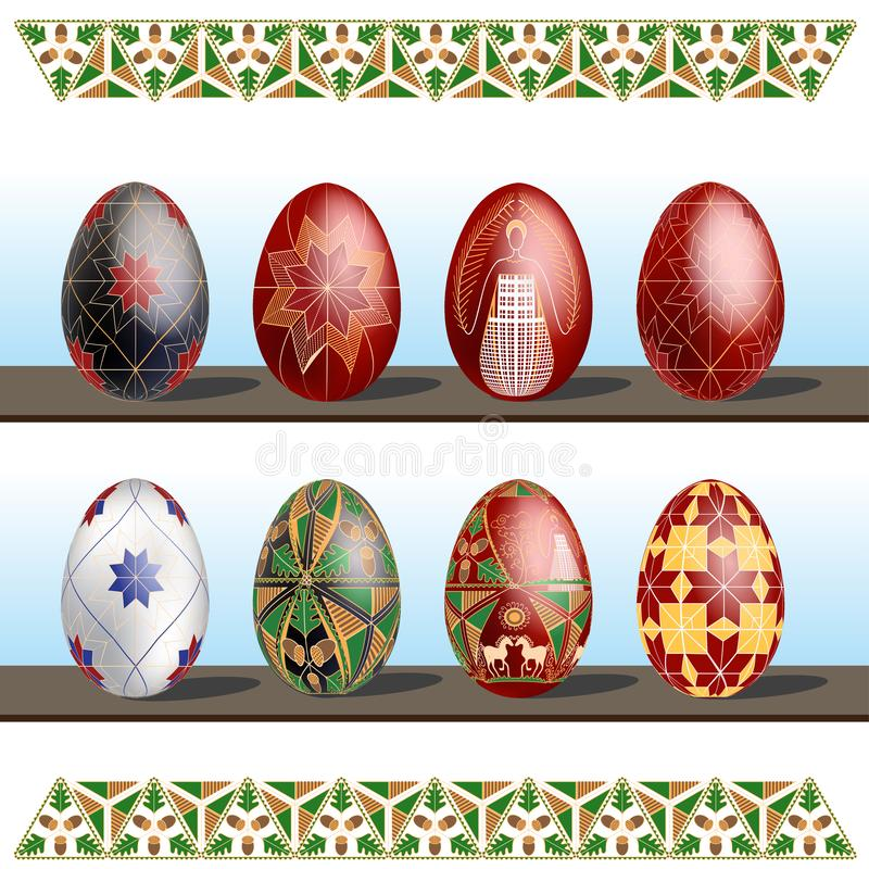 Pysanky - traditional eastern Europe decorated with wax Easter Eggs. Vector illustration over white background. Pysanky - traditional eastern Europe decorated royalty free illustration
