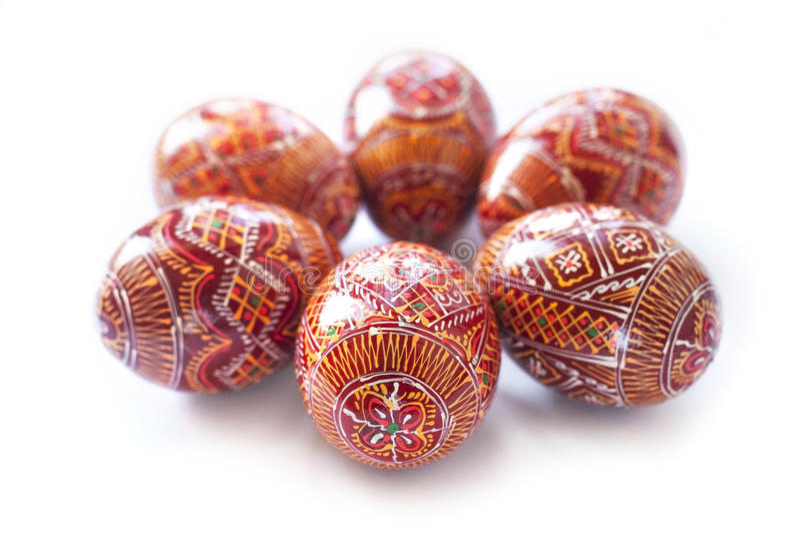 Pysanky - Ukrainian handmade painted Easter eggs. On white background royalty free stock photos